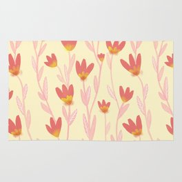 Red Tulips Pattern Rug