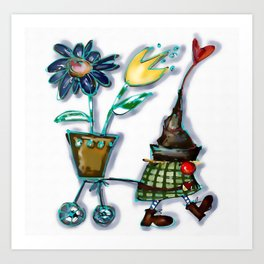 Gnome brings flowers Art Print