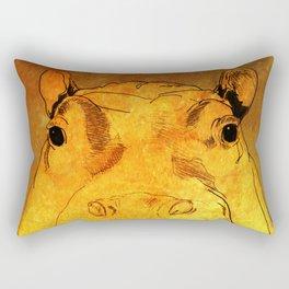 Golden Hippo Rectangular Pillow