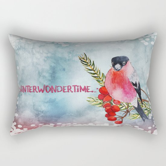 Winter Wondertime - Merry christmas- Little finch on branch-covered with snow Rectangular Pillow
