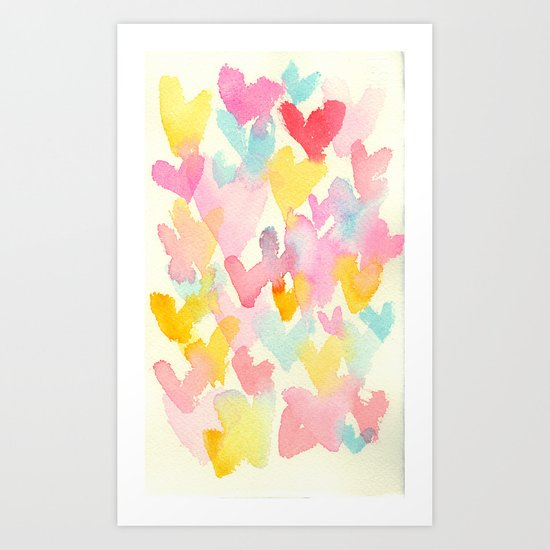 heart watercolor Art Print
