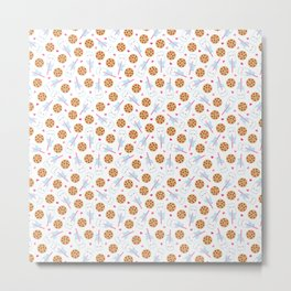 Happy Milk and Cookies Pattern Metal Print
