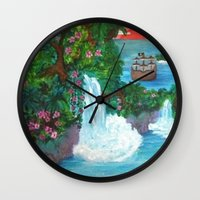 neverland Wall Clocks featuring Neverland by Jadie Miller