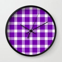 Plaid Royal Purple Wall Clock