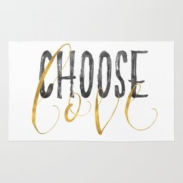 Choose Love Gold Black Inspirational Quote Rug