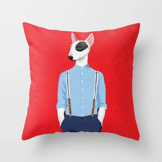 Skinhead Bull Terrier Throw Pillow