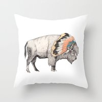 bison Throw Pillows featuring White Bison by Sandra Dieckmann