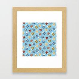 Cozy Mugs - Bg Blue Wood Framed Art Print