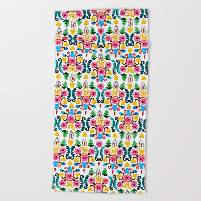 Colorful oriental watercolor floral pattern. Beach Towel