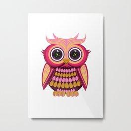 Star Eye Owl - Pink Metal Print
