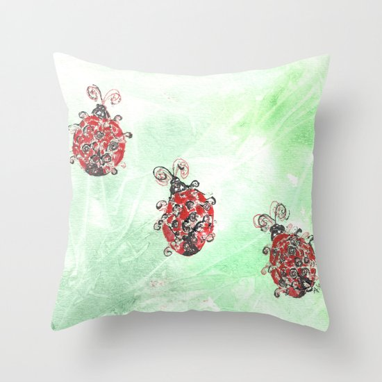 Ladybug Parade Throw Pillow