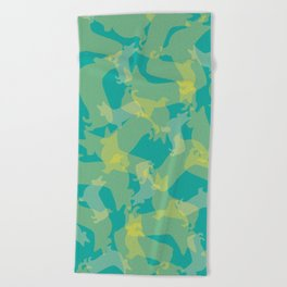 Blue & Yellow Corgi Pattern Beach Towel