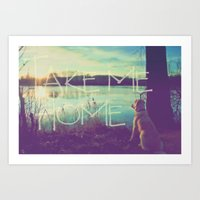 home sweet home Art Prints featuring HOME by Monika Strigel