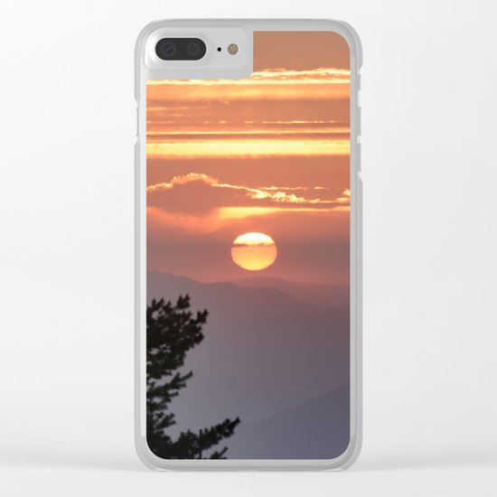 """Sun through the clouds and trees"" Sunset at the mountains Clear iPhone Case"