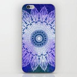 tie dye sunflower mandala in blues iPhone Skin