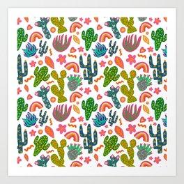 Colorful Cactus/Happy Cactus/Rainbow Cactus/Cactus painting/Cactus Patterns Art Print