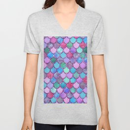 Colorful Pink Glitter Mermaid Scales Unisex V-Neck