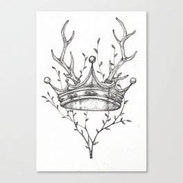 Crown and Stag Canvas Print