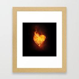 Fire Flame Burn Heart Love Framed Art Print