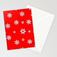 Snowflakes (White on Red) Stationery Cards