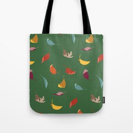 Fall Leaves on Green Tote Bag