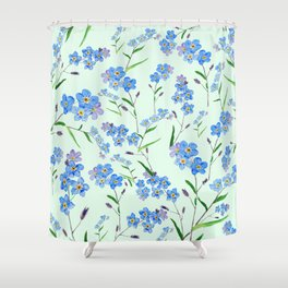 forget me not in green background Shower Curtain