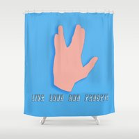 spock Shower Curtains featuring Spock by Joynisha Sumpter