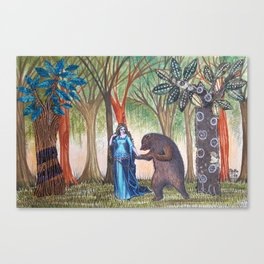 The lady and the bear Canvas Print