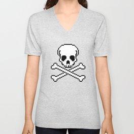 Pixel Skull And Crossbones. Unisex V-Neck