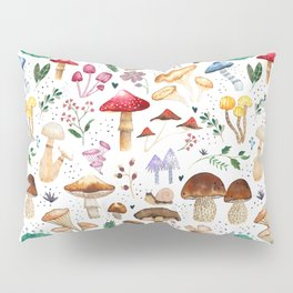 Watercolor forest mushroom illustration and plants Pillow Sham