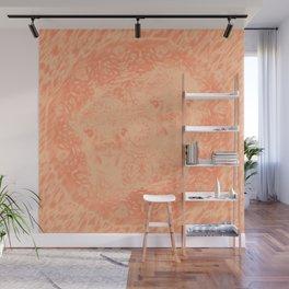 Ghostly alpacas with mandala in peach echo Wall Mural