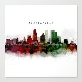 Minneapolis Watercolor Skyline Canvas Print