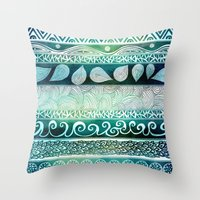 pen Throw Pillows featuring Dreamy Tribal Part VIII by Pom Graphic Design
