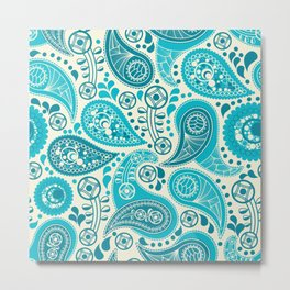 Paisley Pattern Boteh Buta Droplet Abstract Metal Print
