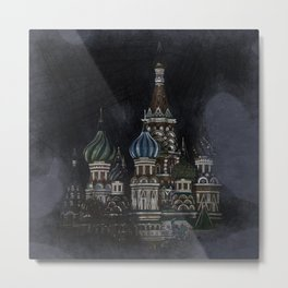 Saint Basil's Cathedral - dark, Moscow, Russia Metal Print