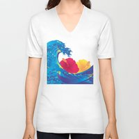 hokusai V-neck T-shirts featuring Hokusai Rainbow & Hibiscus_YR by FACTORIE