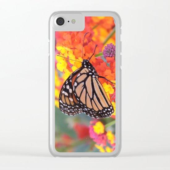 Monarch Feeding on Lantana Clear iPhone Case