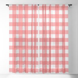 Plaid (Red & White Pattern) Sheer Curtain