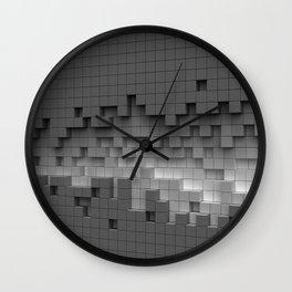 Grey cubes mosaic - torn wall Wall Clock