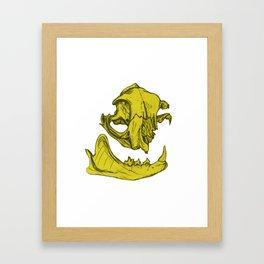 Cat Skull 5 (lemony yellow) Framed Art Print