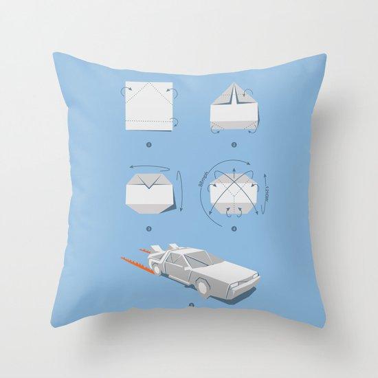Origami DeLorean Throw Pillow