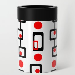 Circles Squares Black Red White Can Cooler
