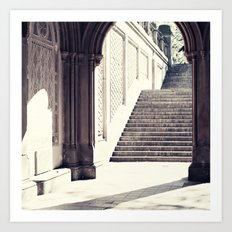 New York, NYC, Central Park arches on black and white II Art Print