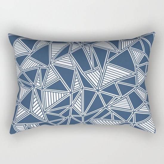 Abstract Outline Lines Navy Rectangular Pillow