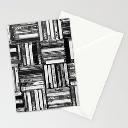 Music Cassette Stacks - Black and White - Something Nostalgic IV #decor #society6 #buyart Stationery Cards