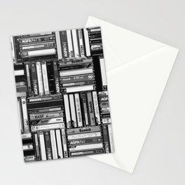 Music Cassette Stacks - Black and White - Something Nostalgic IV #decor #society6 #buyart Stationery Cards