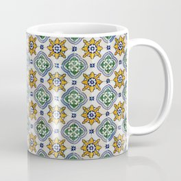 Mediterranean Vintage Blue and Orange Tiles Coffee Mug