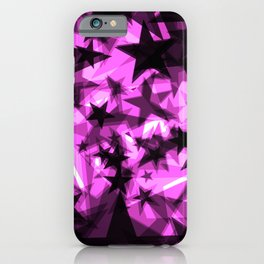 Dark purple cosmic stars with glow in the distance from the foil in perspective. iPhone Case