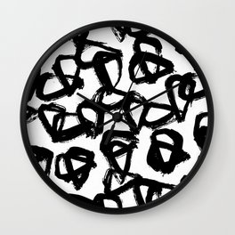 Painted Geometric Black and White Wall Clock