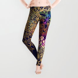Bohemian 1960's Mandala Pattern of Rainbow Colors Leggings